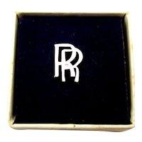 Vintage Rolls Royce Sterling Silver Tie Tac Lapel Pin