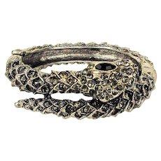 Vintage Rhinestone Snake Clamper Bracelet