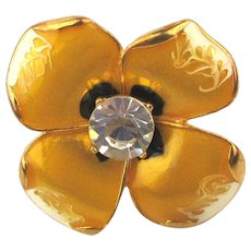 Kenneth Lane Enamel Flower Ring KJL - 18K GP Swarovski