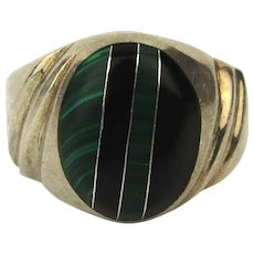 Mexican Sterling Silver Mens Ring w/ Stone Inlay