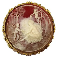 Great Vignette Faux Cameo Pin Brooch - Lady Cherubs Fruit - Big
