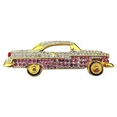 Beep Beep Pave Rhinestone Cadillac Car Pin Brooch