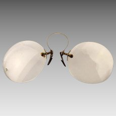 Victorian Gold-Filled Pince Nez Eyeglasses Specs in Case