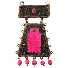 Mexican Copper Mayan Warrior Pendant Necklace Carved Pink Quartz
