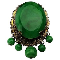 Vintage Victorian Style Pin Brooch Emerald Green w/ Dangles