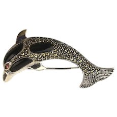 Jumping Sterling Silver Marcasite Dolphin Pin Fish Brooch