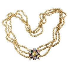 Kenneth J. Lane Long Lavish 3 Strand Faux Pearl Necklace w/ Rhinestone Clasp KJL