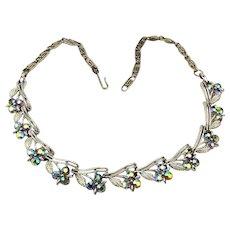 Vintage Lisner Rhinestone Necklace Blue Aurora Borealis