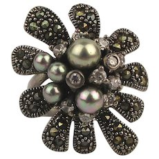 Gorgeous 925 Sterling Ring Marcasite Pearls Big Flower