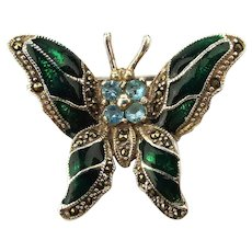 Fancy Little Butterfly Pin - Sterling - Enamel - Rhinestones - Marcasite