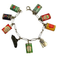 1940 New York World's Fair HEINZ Food Can Products Charm Bracelet
