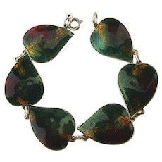 Vintage Autumn Leaves Enamel Link Bracelet