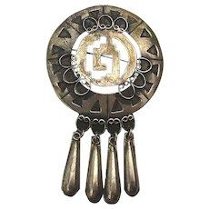 Mexican Sterling Silver Pin Pendant Cut Thru w/ Dangles MS