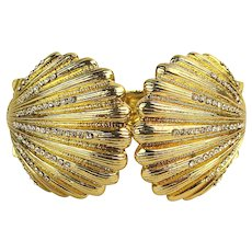 Vintage Lilly Pulitzer Clam Shell Hinge Bracelet w/ Crystals