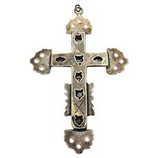Victorian Sterling Silver Cross Pendant - Two-Sided Handwrought Unique