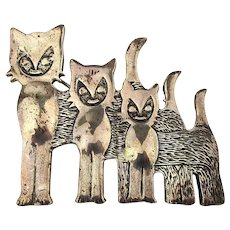 Sterling Silver Modernist Weird Cat Family Pin Brooch
