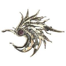 Vintage Sterling Silver HURRICANE Pin w/ Amethyst Eye