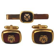 Masonic Scottish Rite 32 Degree Gold-Filled Cufflinks Set w/ Tie Bar