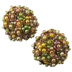 Signed Alice Caviness Button Clip Earrings Flower Cluster Galore