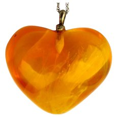 Big Fat Baltic Amber Heart Pendant on Sterling Silver Chain Necklace