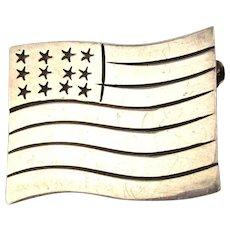Handmade Sterling Silver American FLAG Pin Patriotic Artist Signed