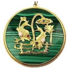Vintage Chinese Asian Fish Pendant Necklace Malachite w/ Opals Message