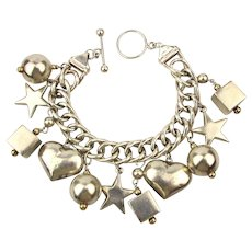 Vintage Sterling Silver Italian Charm Bracelet Chunky Clinky Great Charms