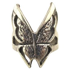 Vintage Etched Sterling Silver Butterfly Ring