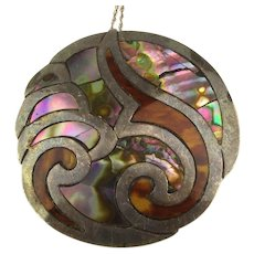 Old Mexican Shell Inlay Pendant Necklace 925 Sterling Silver