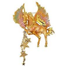 Vintage Kirks Folly Flying Unicorn Pin Brooch Enamel Iridescent