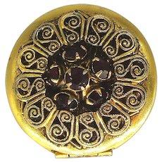 Vintage Locket Pin Brooch w/ Red Rhinestones