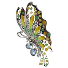 What a Gorgeous Butterfly Pin Sterling Silver Enamel