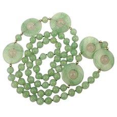 Vintage Aventurine Jade-Like Bead Necklace w/ Rotating Disks