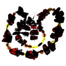 Vintage Genuine Cherry Amber Necklace Earrings Set
