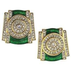 Stunning Clip Earrings - Faux Diamonds w/ Emerald Green Enamel