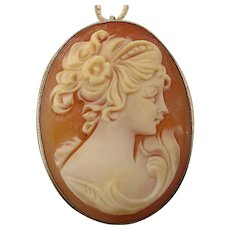 Vintage 800 Silver Hand Carved CAMEO Girl Pin Pendant Necklace Sterling Chain