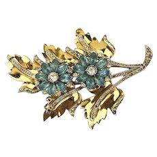 Art Deco 1930s Coro-Craft Oversized Rhinestone Gilt Flower Pin Brooch