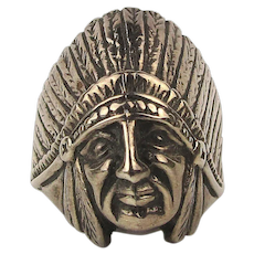 Mens Vintage Sterling Silver Ring Indian Chief w/ Big Headdress