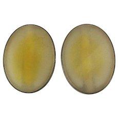 Sterling Silver Citrine Quartz Clip Earrings - Signed Big Ovals