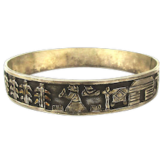 Navajo Floyd Becenti Sterling Silver Storyteller Bangle Bracelet - Bicenti
