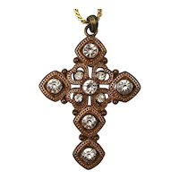 Old Gilded Christian Cross w/ Rhinestones Necklace