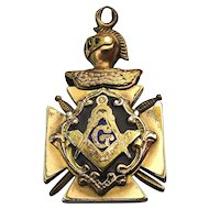 Old c1880s MASONIC Fob Pendant Maltese Cross w/ Knight Helmet