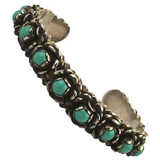 Vintage Mexican Sterling Silver Turquoise Cuff Bracelet 14 Stones