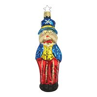 Vintage UNCLE SAM Glass Figural Christmas Ornament W. Germany