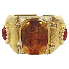 Signed ART Wide Jeweled Link Bracelet w/ Glass Cameos