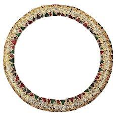 Big Heavy Fabulous Rhinestone Collar Necklace w/ Enamel
