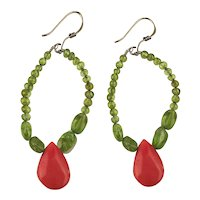Pretty Peridot Beads w/ Coral Drop 925 Wired Earrings