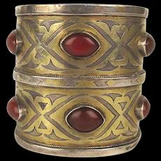 Vintage Turkman Sterling Silver Tribal Cuff Bracelet w/ Carnelian - Heavy