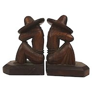 Vintage Carved Wood Sleeping Mexican Bookends - With a Difference