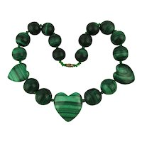 Big Thick Chunky Malachite Stone Bead Necklace w/ Hearts